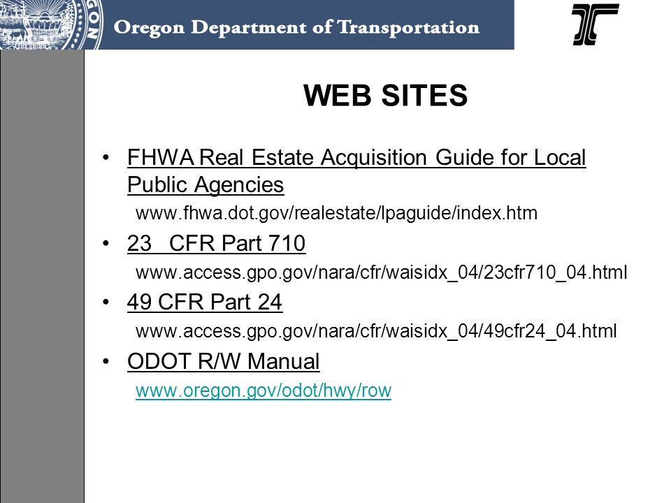 WEB SITES FHWA Real Estate Acquisition Guide for Local Public Agencies