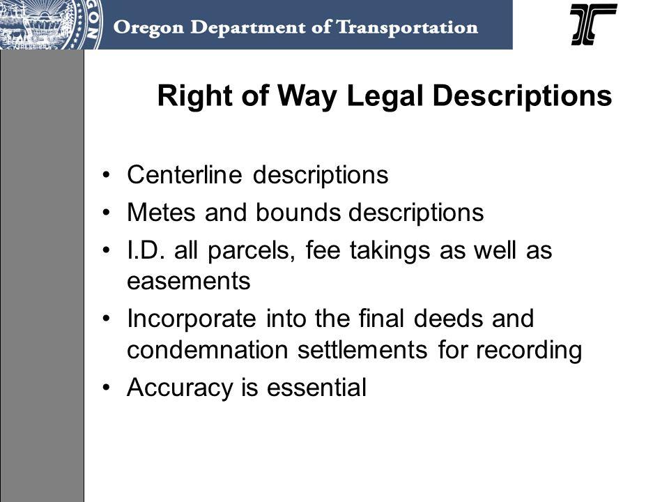 Right of Way Legal Descriptions