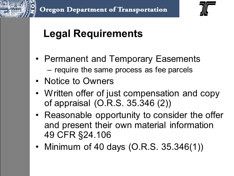 Legal Requirements Permanent and Temporary Easements Notice to Owners