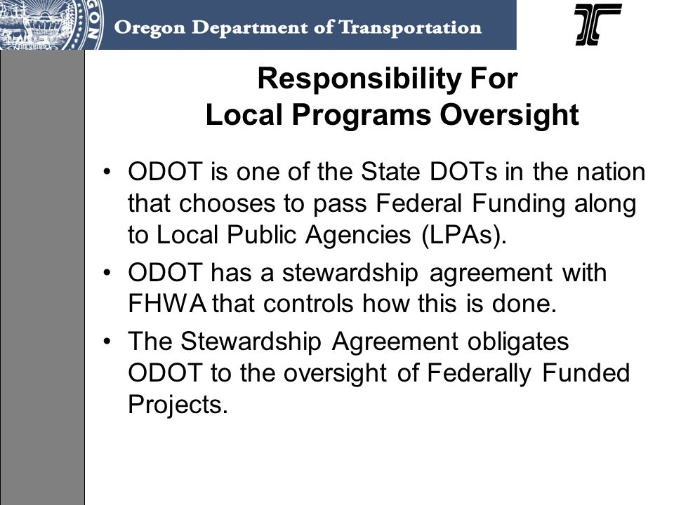 Responsibility For Local Programs Oversight