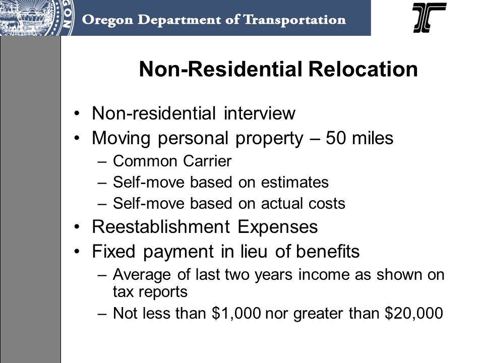 Non-Residential Relocation