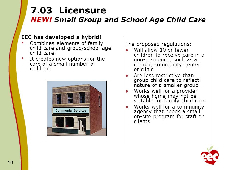 7.03 Licensure NEW! Small Group and School Age Child Care
