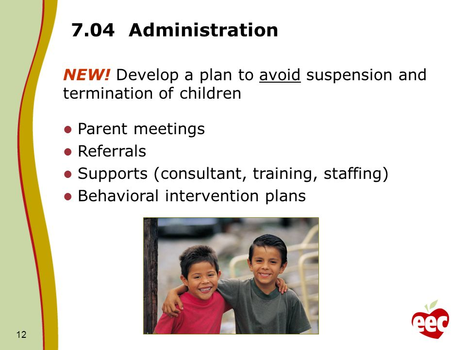 7.04 Administration NEW! Develop a plan to avoid suspension and termination of children. Parent meetings.