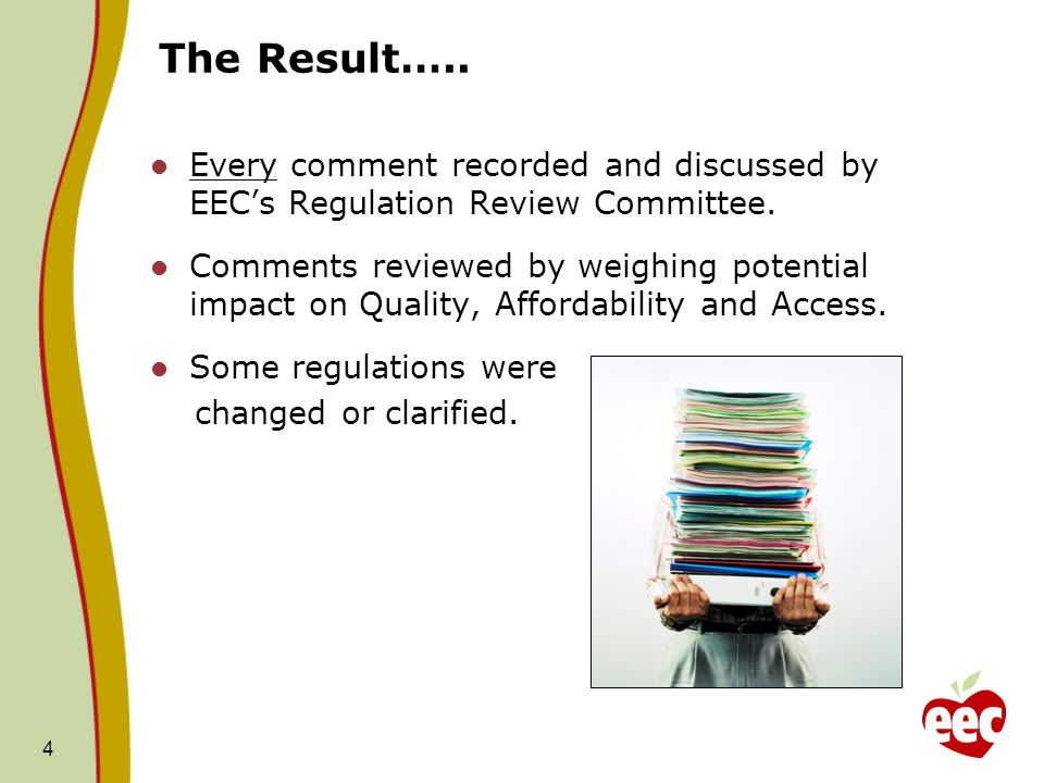 The Result….. Every comment recorded and discussed by EEC's Regulation Review Committee.