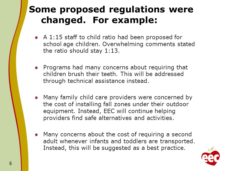 Some proposed regulations were changed. For example: