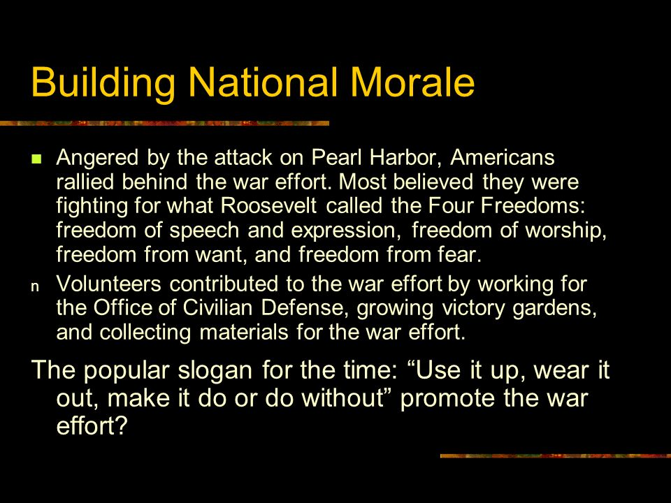 Building National Morale