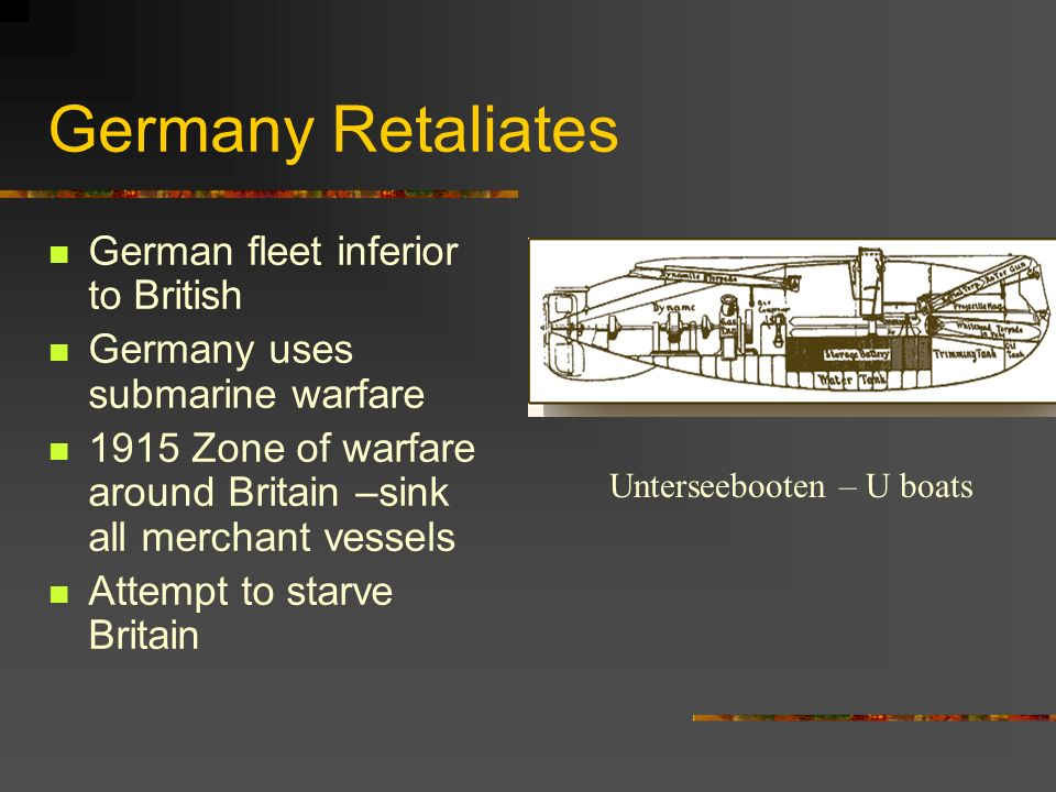 Germany Retaliates German fleet inferior to British