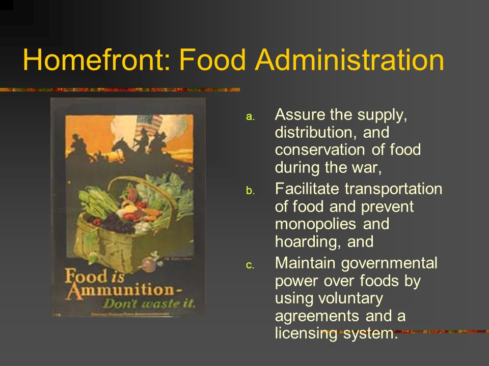 Homefront: Food Administration