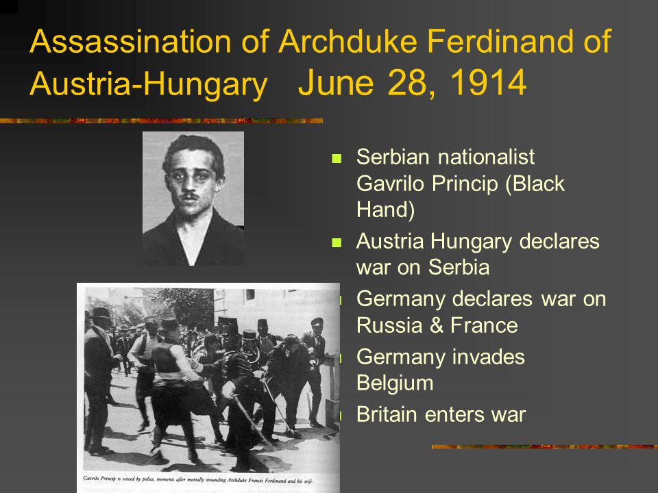 Assassination of Archduke Ferdinand of Austria-Hungary June 28, 1914