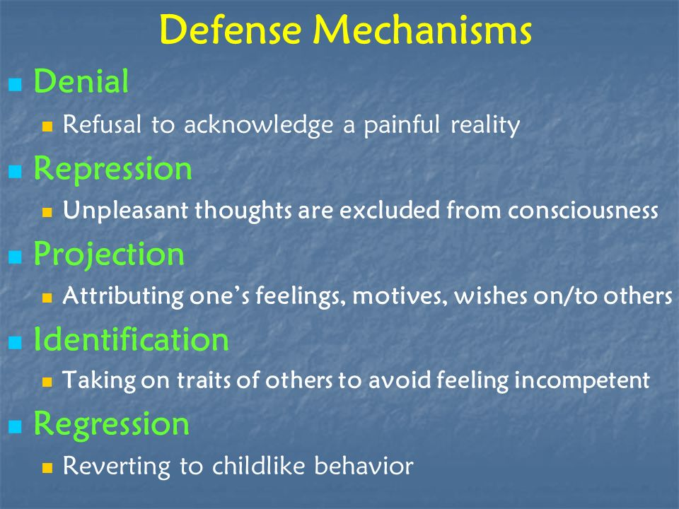 Defense Mechanisms Denial Repression Projection Identification