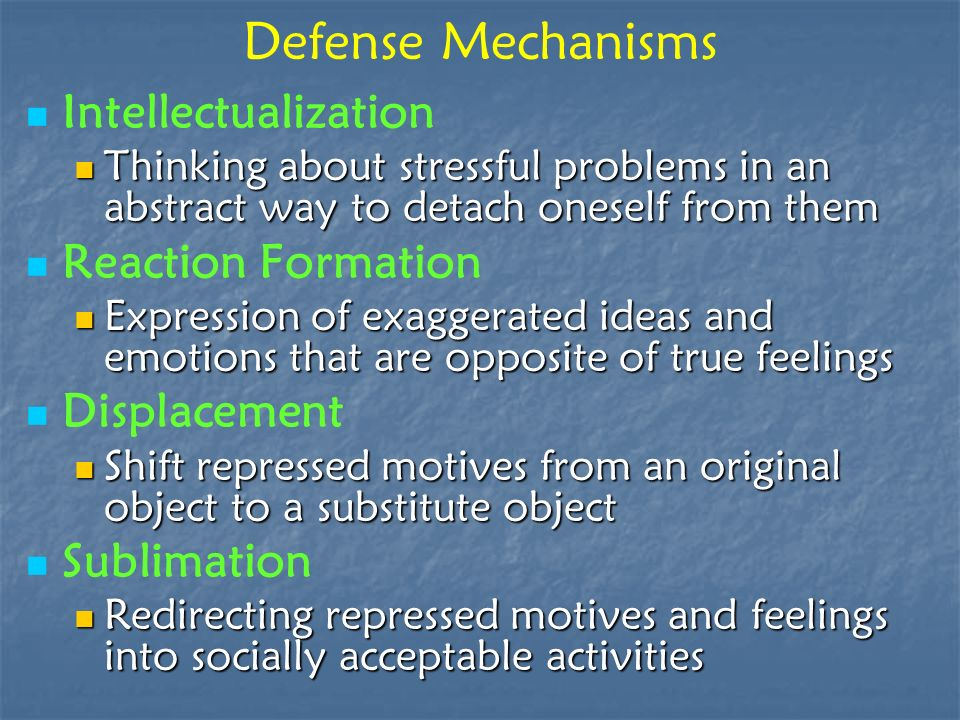 Defense Mechanisms Intellectualization Reaction Formation Displacement