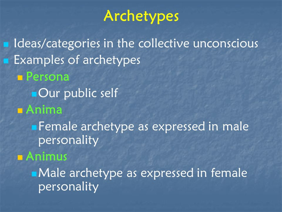 Archetypes Ideas/categories in the collective unconscious