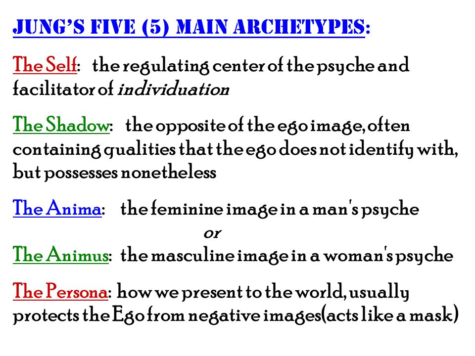 Jung's five (5) main archetypes:
