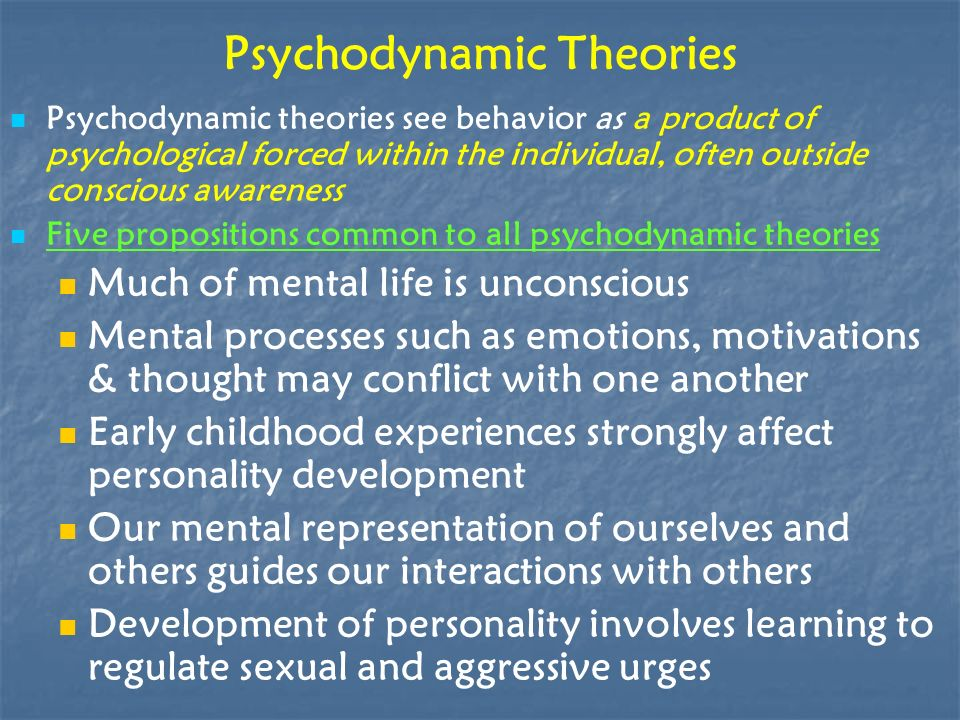 psychodynamic theories affect individual personality Some aspects of the collective unconscious may affect an individual's personality and use  the ability of the coach to master a range of psychodynamic theories.