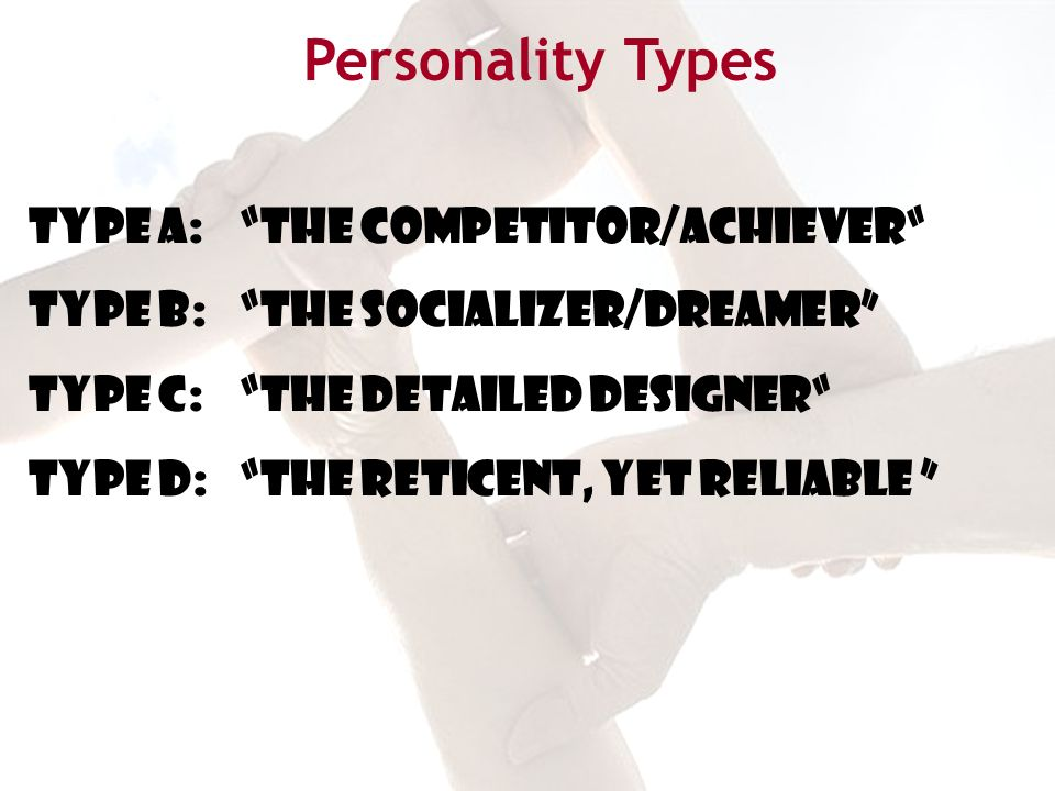 TYPE A: THE competitor/achiever TYPE B: THE SOCIALIZER/dreamer