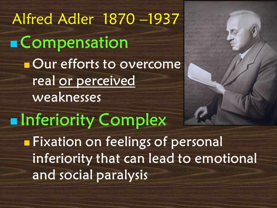 Compensation Inferiority Complex Alfred Adler 1870 –1937