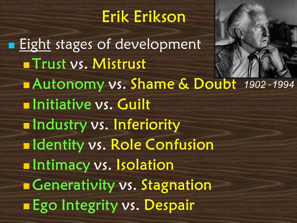 Erik Erikson Trust vs. Mistrust Autonomy vs. Shame & Doubt