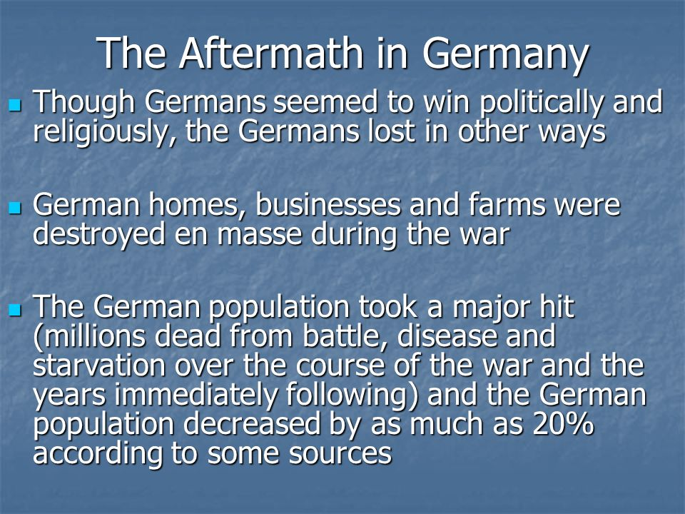 The Aftermath in Germany