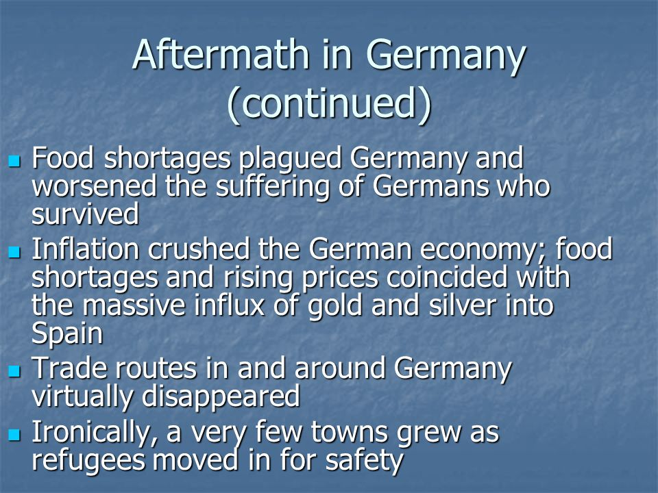 Aftermath in Germany (continued)