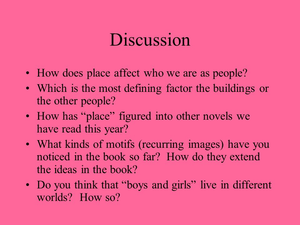 Discussion How does place affect who we are as people