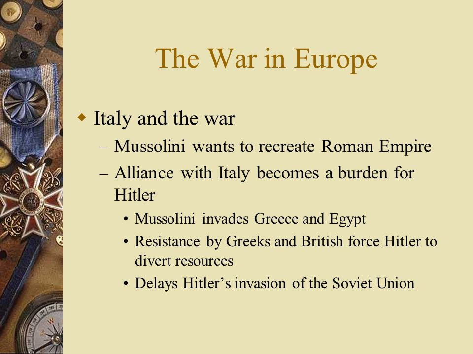 The War in Europe Italy and the war
