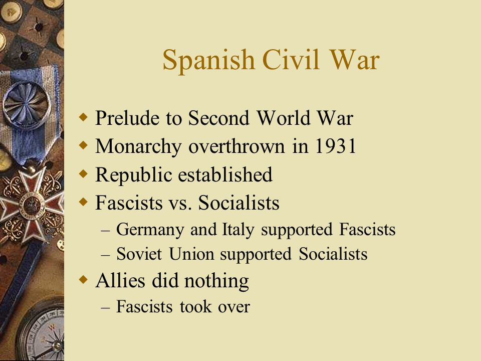 Spanish Civil War Prelude to Second World War