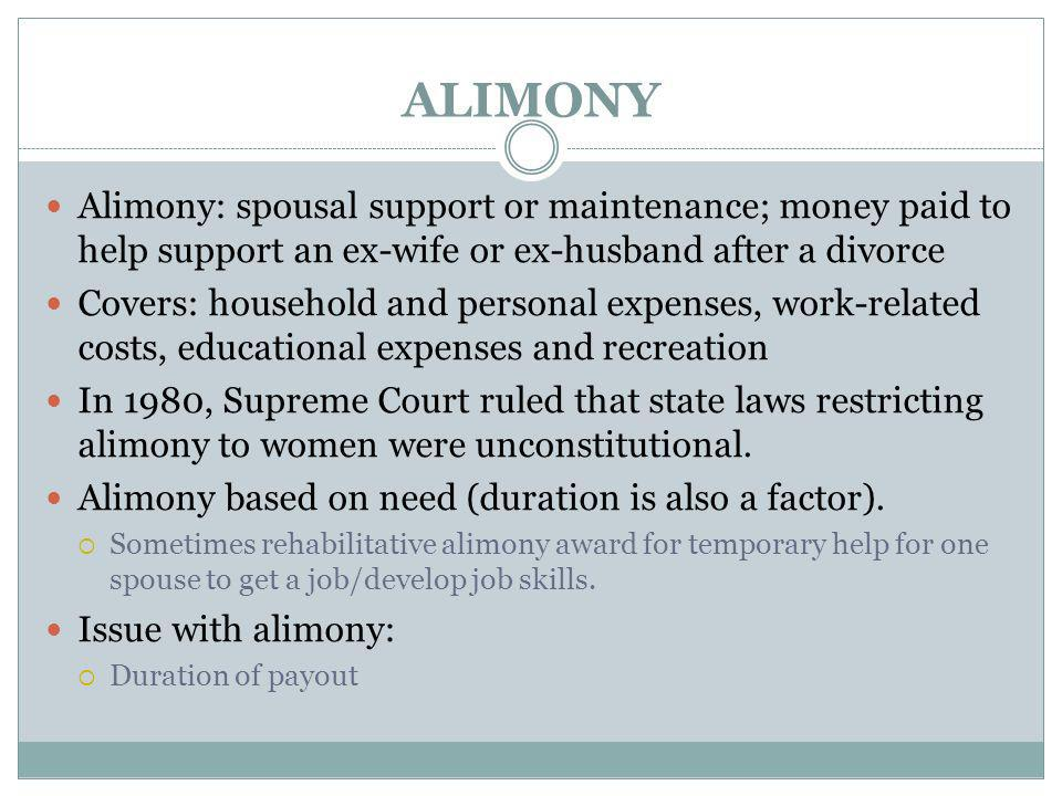 ALIMONY Alimony: spousal support or maintenance; money paid to help support an ex-wife or ex-husband after a divorce.