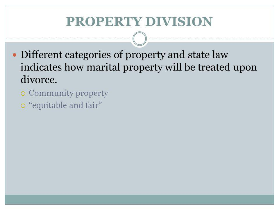PROPERTY DIVISION Different categories of property and state law indicates how marital property will be treated upon divorce.