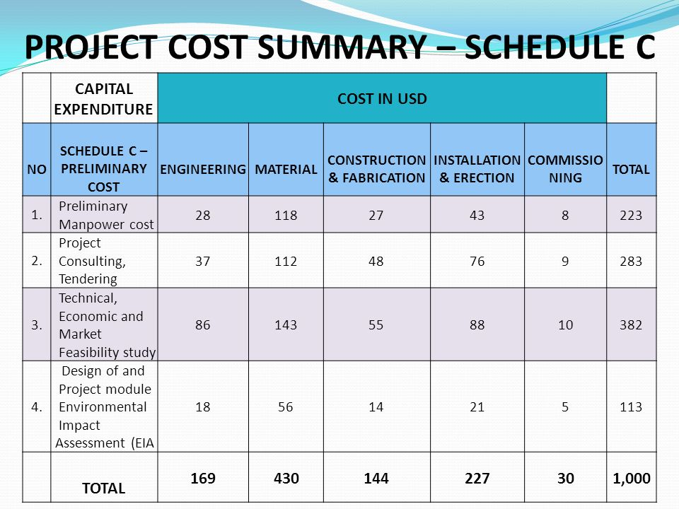PROJECT COST SUMMARY – SCHEDULE C