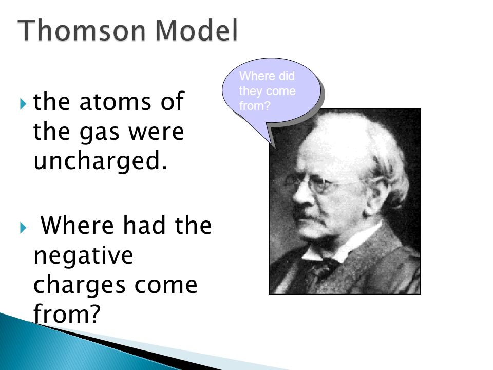 Thomson Model the atoms of the gas were uncharged.