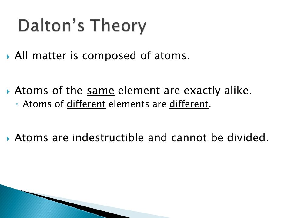 Dalton's Theory All matter is composed of atoms.