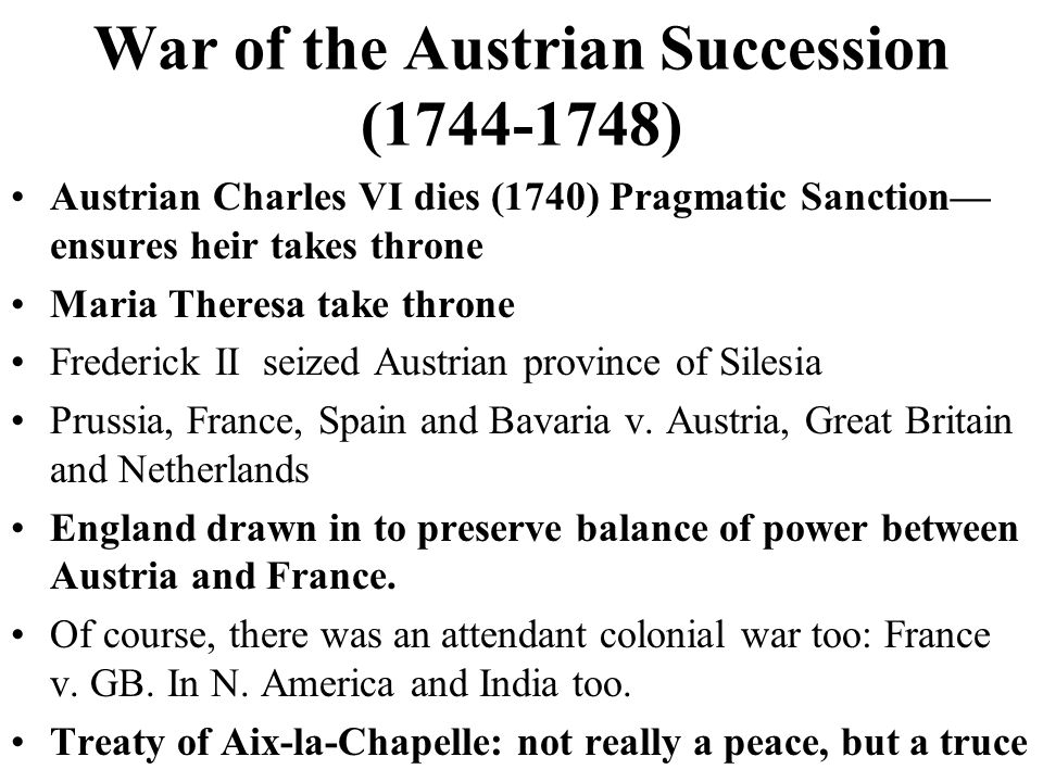 War of the Austrian Succession (1744-1748)