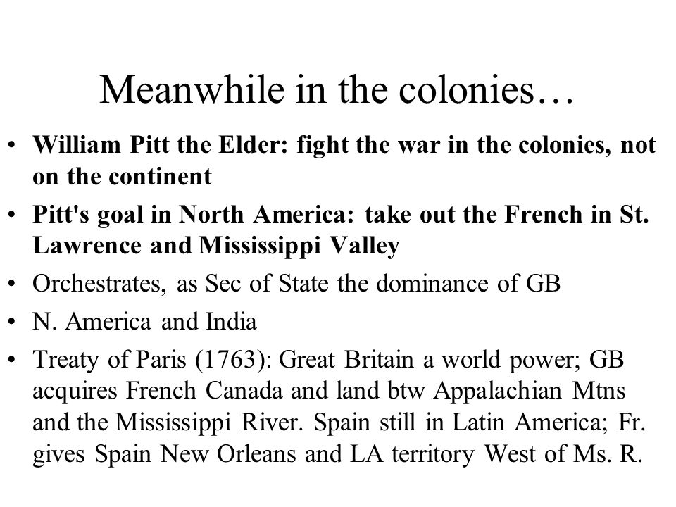 Meanwhile in the colonies…