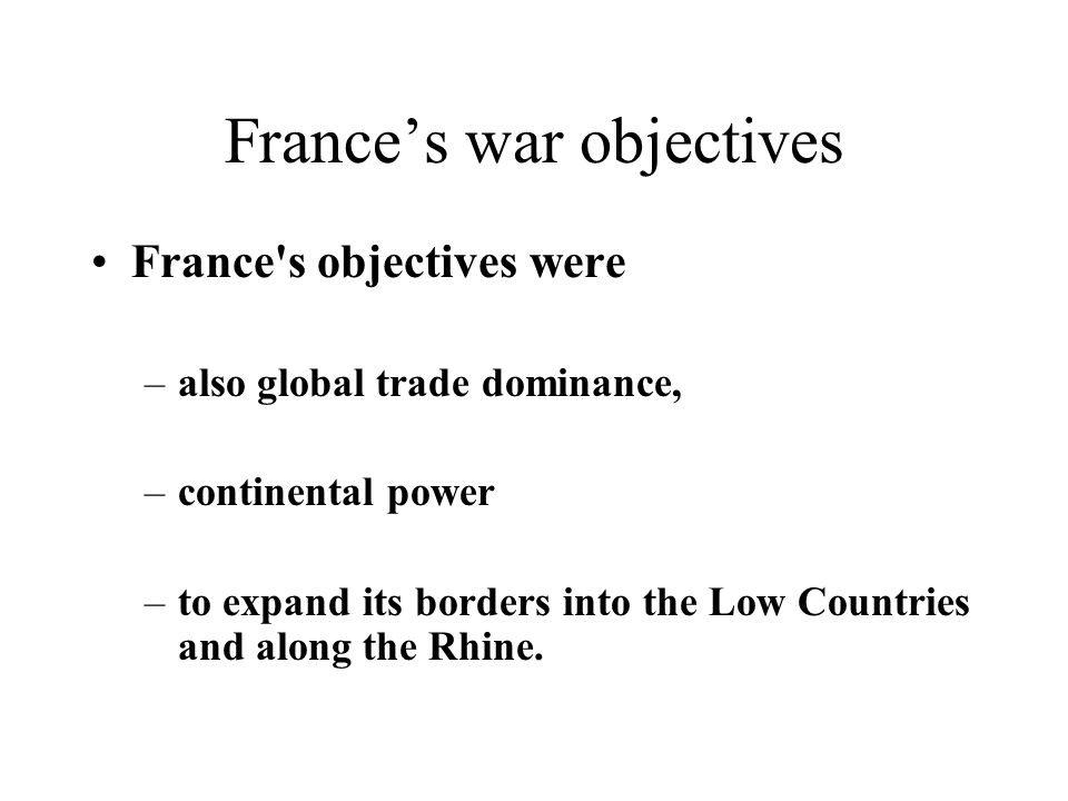 France's war objectives