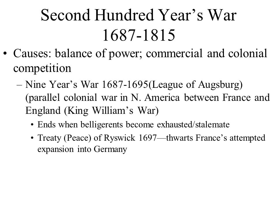 Second Hundred Year's War 1687-1815