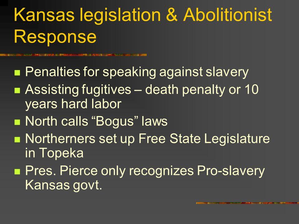 Kansas legislation & Abolitionist Response