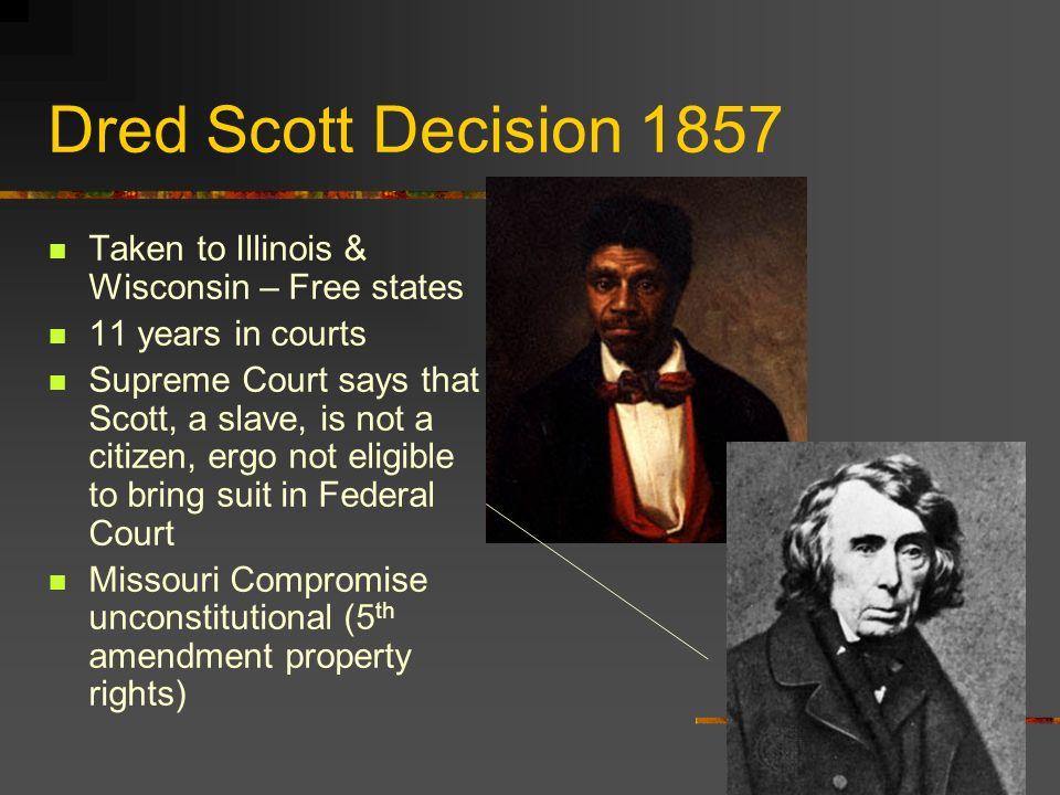 Dred Scott Decision 1857 Taken to Illinois & Wisconsin – Free states