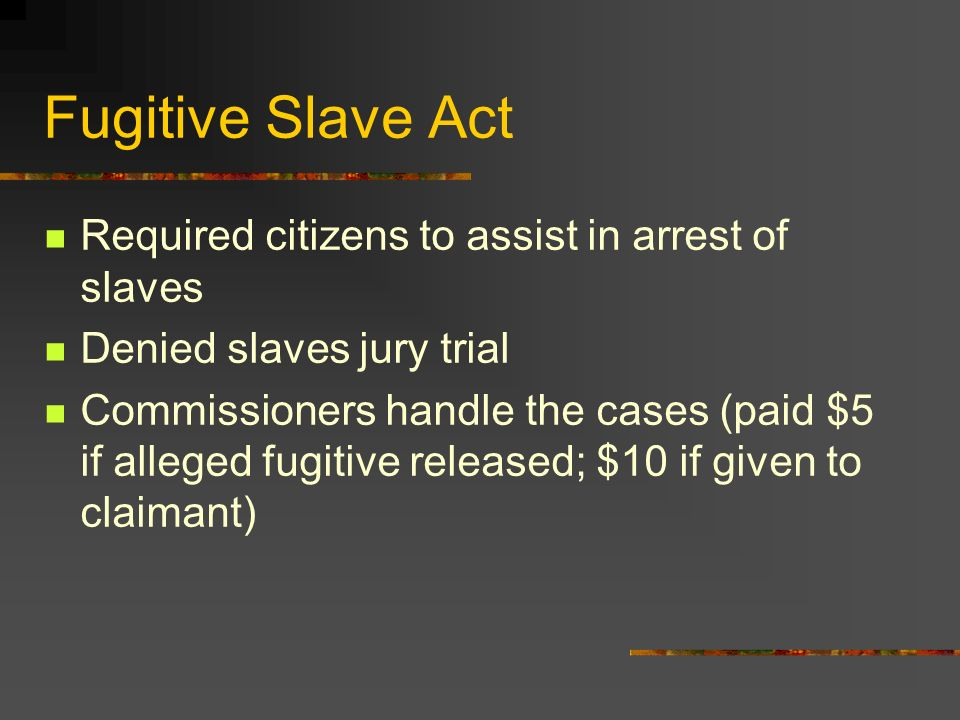Fugitive Slave Act Required citizens to assist in arrest of slaves