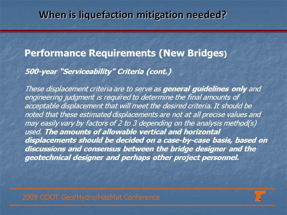 When is liquefaction mitigation needed
