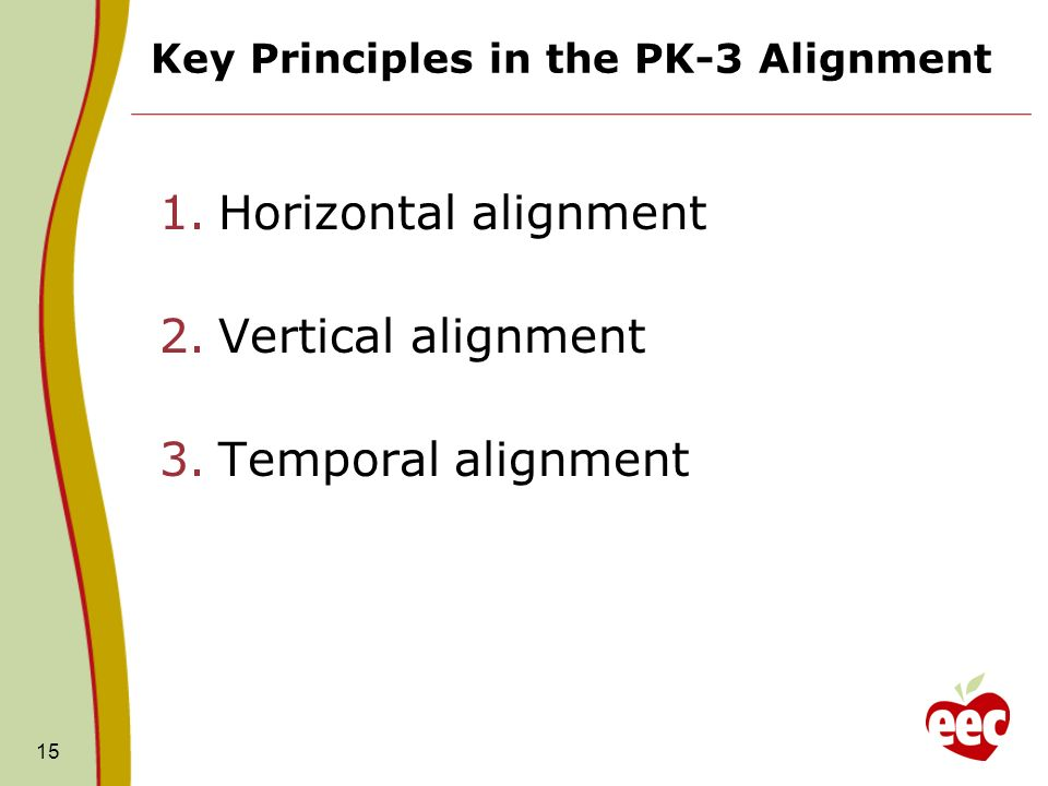 Key Principles in the PK-3 Alignment