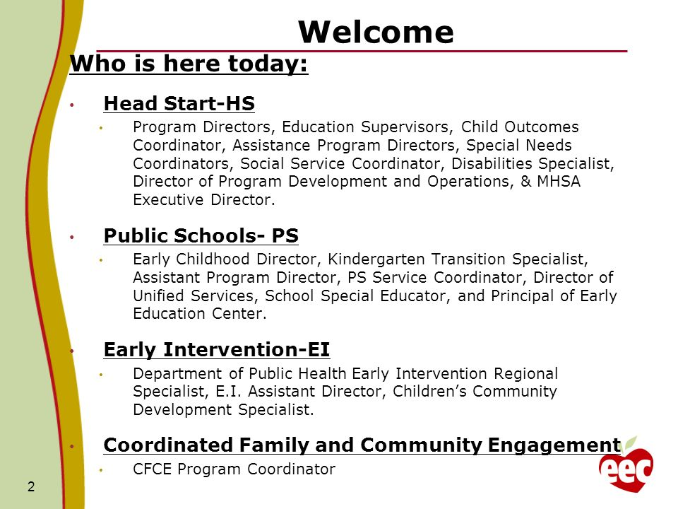 Welcome Who is here today: Head Start-HS Public Schools- PS