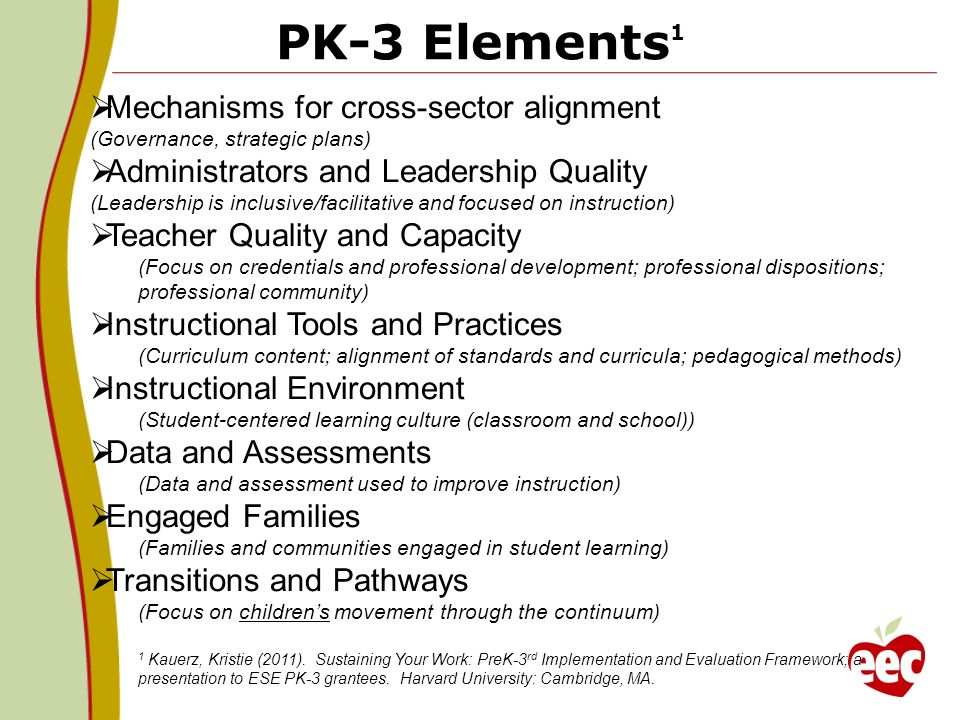 PK-3 Elements1 Mechanisms for cross-sector alignment