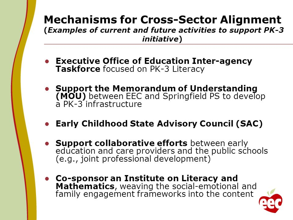 Mechanisms for Cross-Sector Alignment (Examples of current and future activities to support PK-3 initiative)