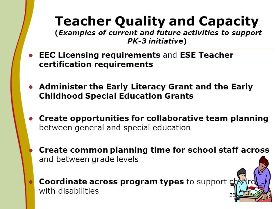 Teacher Quality and Capacity (Examples of current and future activities to support PK-3 initiative)