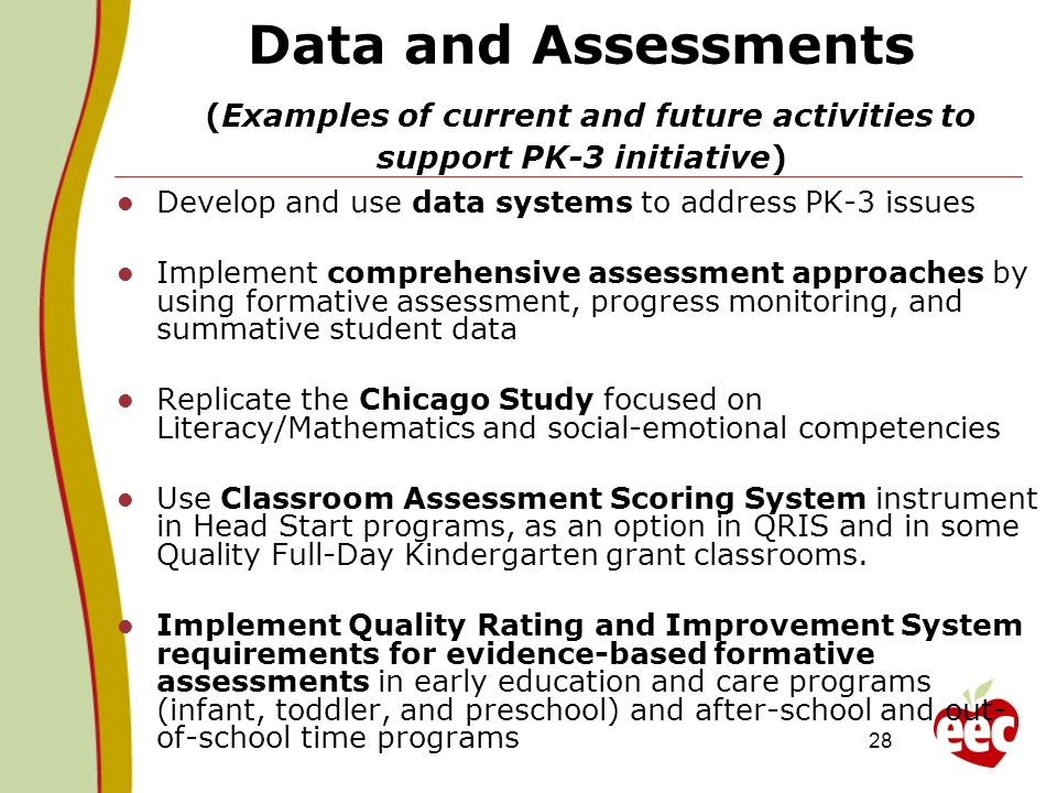 Data and Assessments (Examples of current and future activities to support PK-3 initiative)