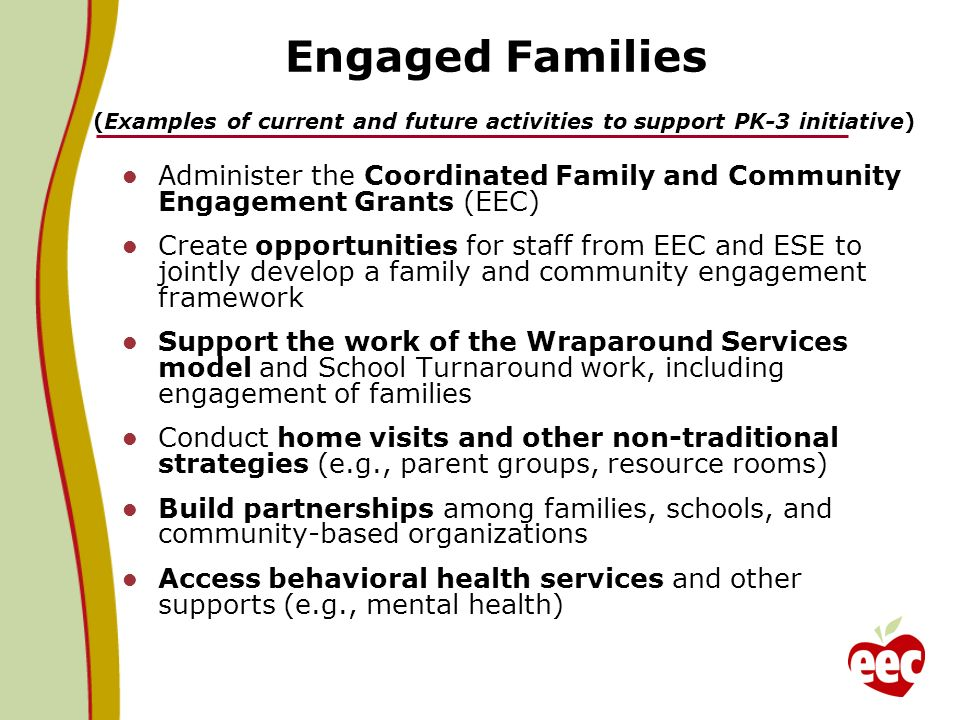 Engaged Families (Examples of current and future activities to support PK-3 initiative)