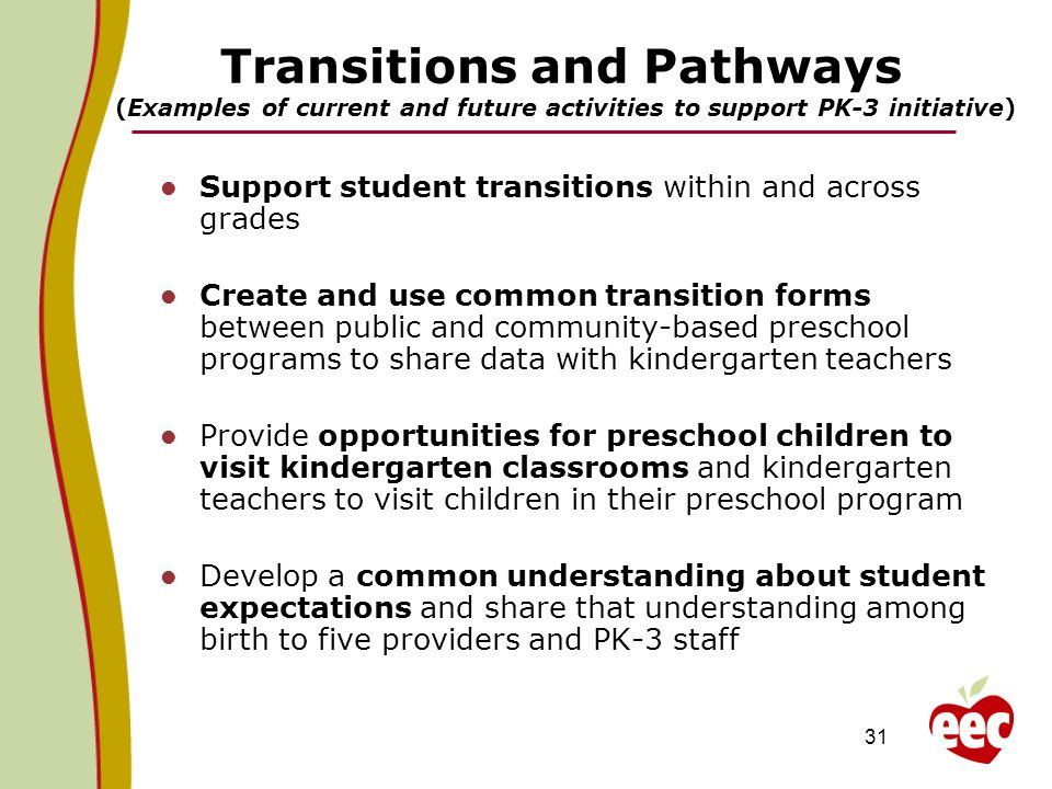 Transitions and Pathways (Examples of current and future activities to support PK-3 initiative)
