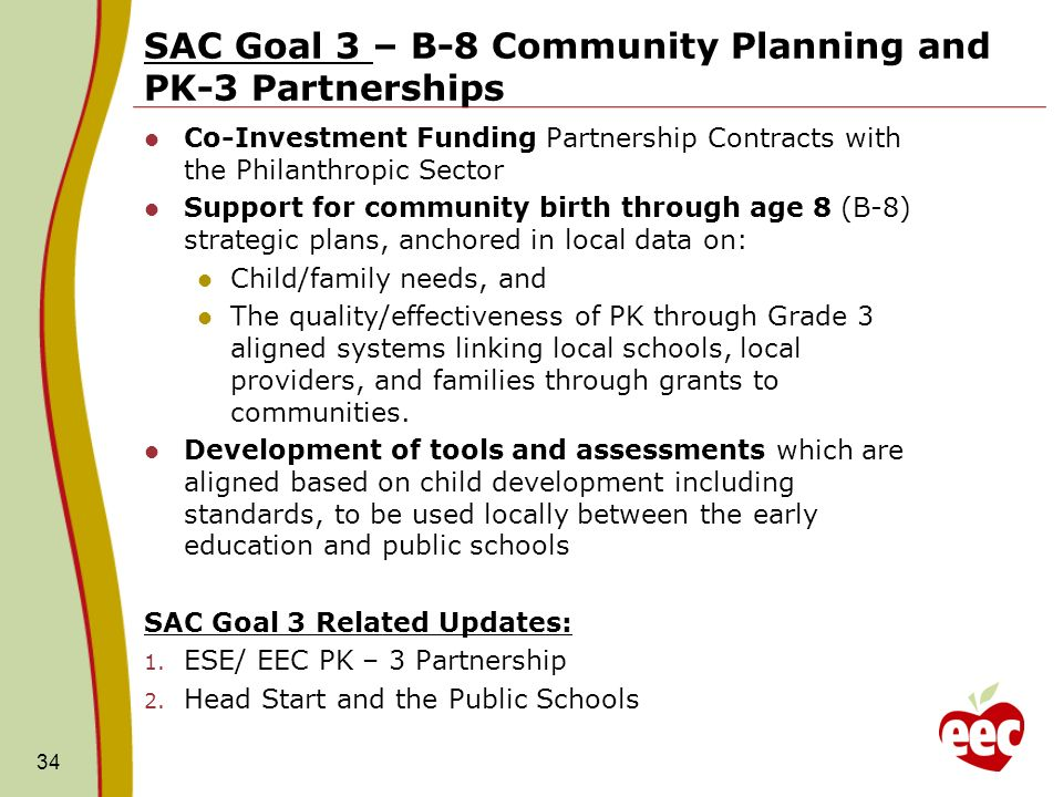 SAC Goal 3 – B-8 Community Planning and PK-3 Partnerships