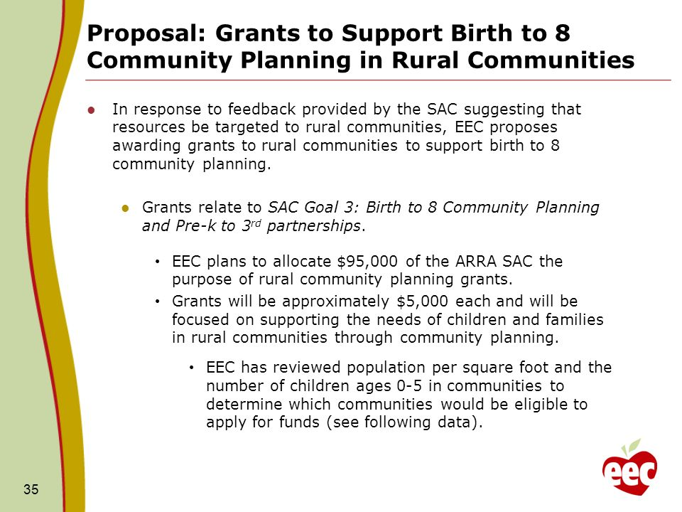 Proposal: Grants to Support Birth to 8 Community Planning in Rural Communities