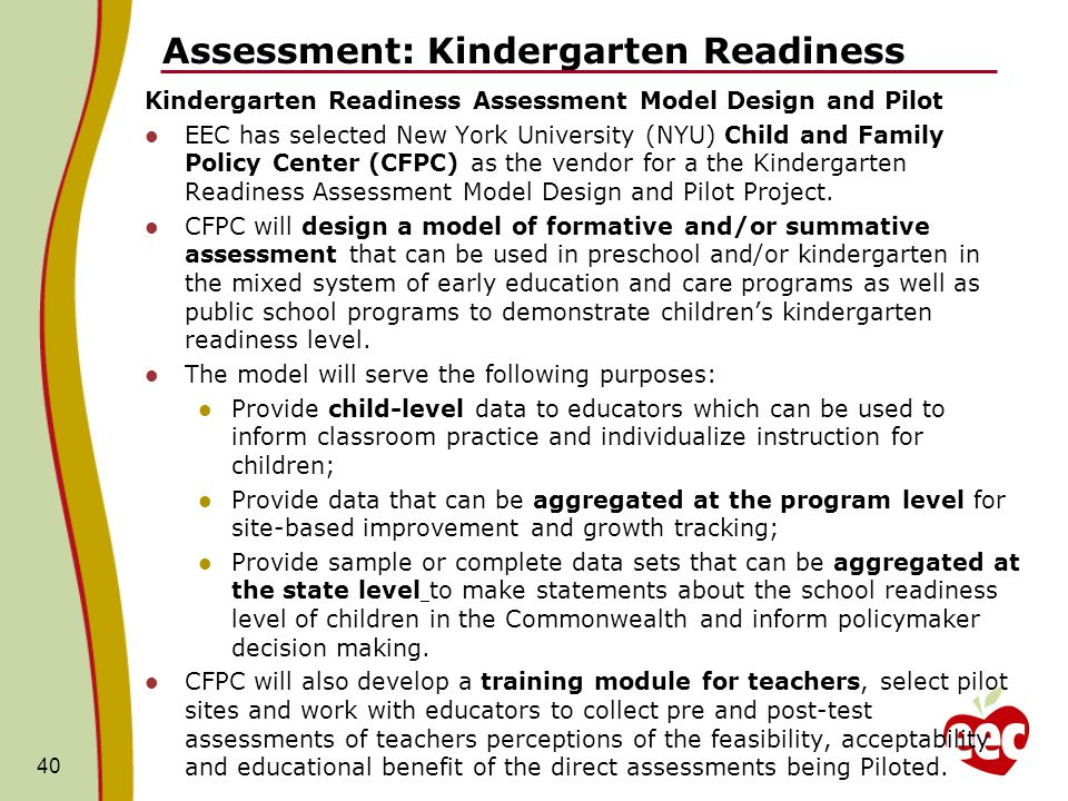 Assessment: Kindergarten Readiness